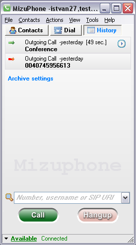 Mizu VoIP SoftPhone screen shot
