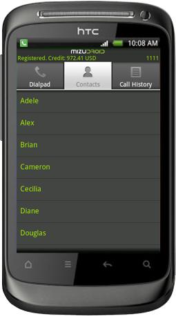 android softphone contacts